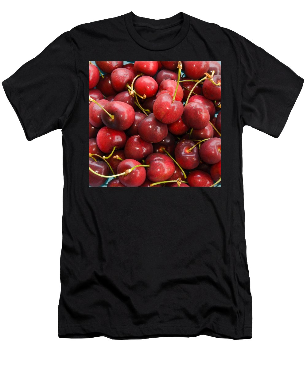 Life; Bowl; Cherry; Cherries; Dish; Bunch; Pile; Stem; Pit; Pie; Fruit; Blossom; Tree; Florida; Ripe Men's T-Shirt (Athletic Fit) featuring the photograph Michigan Cherries by Allan Hughes