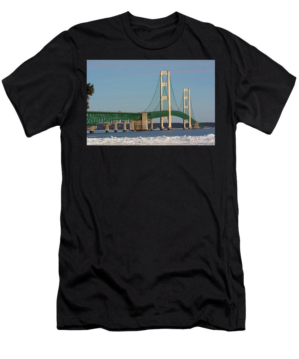 Mackinac Bridge Men's T-Shirt (Athletic Fit) featuring the photograph Michigan Mighty Mac by Linda Kerkau