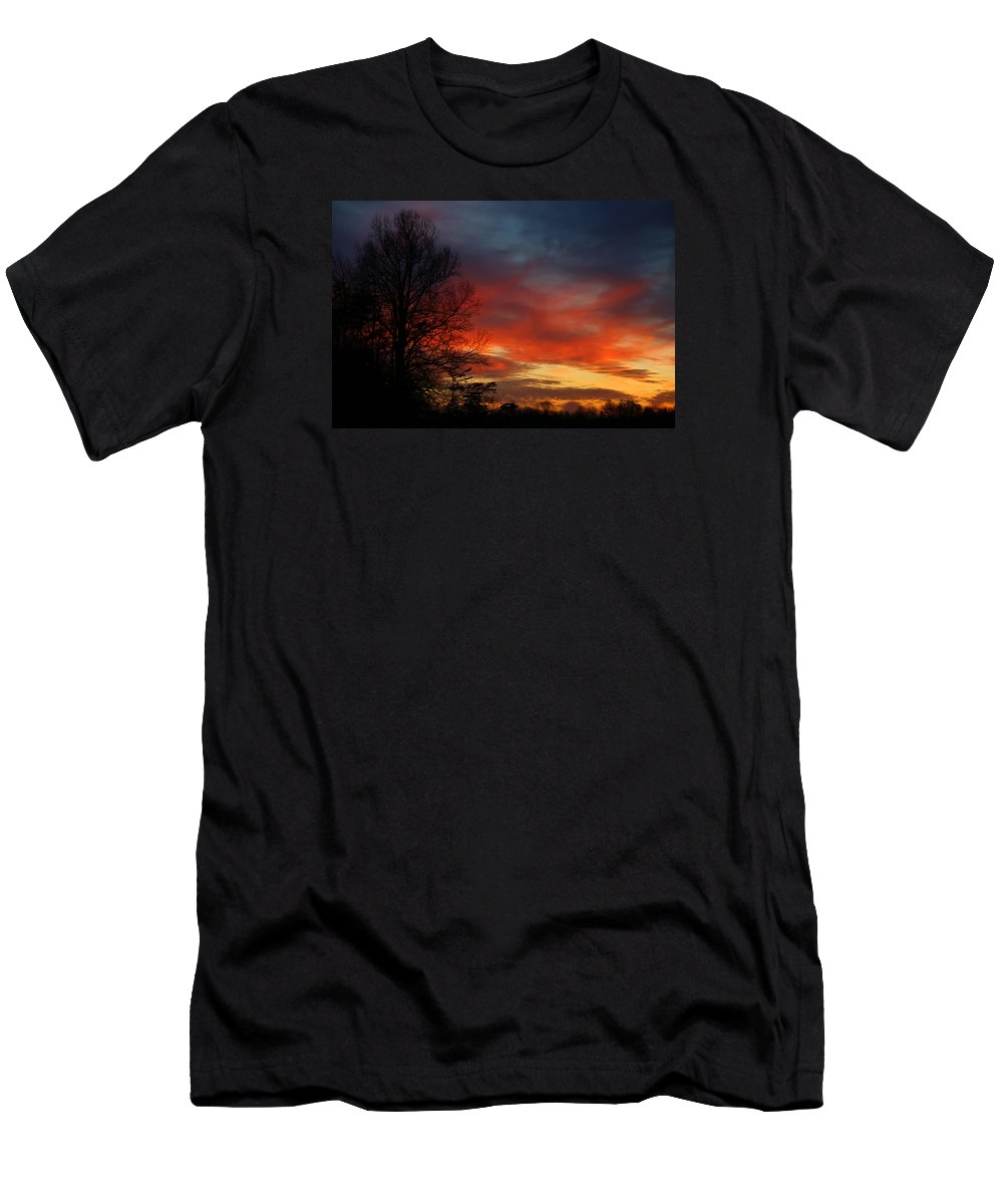 Sky Men's T-Shirt (Athletic Fit) featuring the photograph Mid-january Sunset by Kathryn Meyer