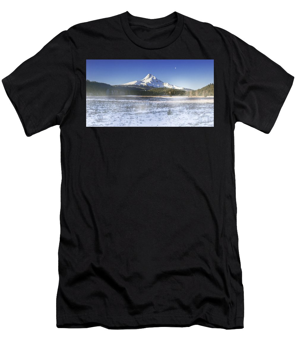 Mountain Men's T-Shirt (Athletic Fit) featuring the digital art Mid-winter Morning by John Christopher