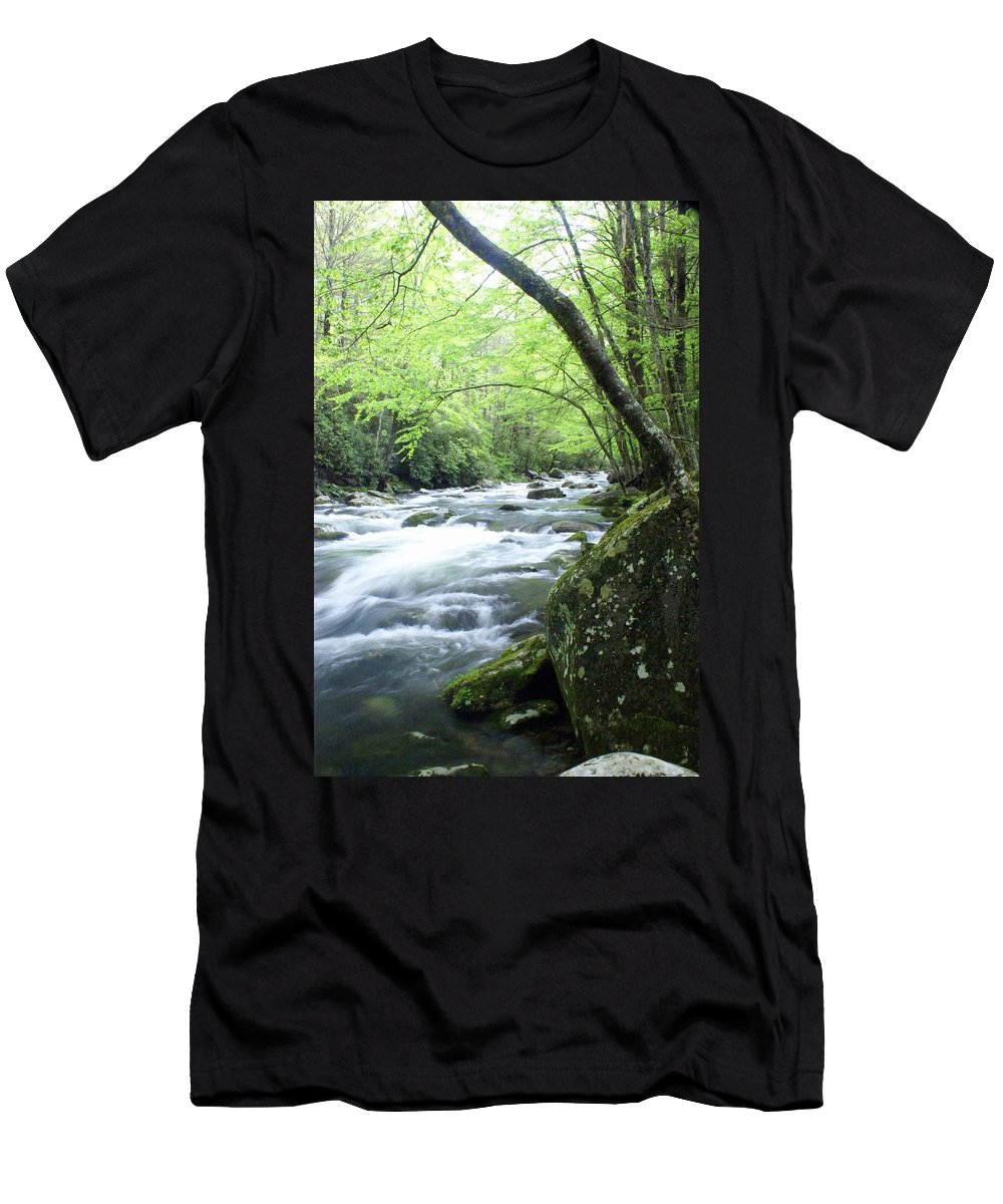 Stream Rive Men's T-Shirt (Athletic Fit) featuring the photograph Middle Fork River by Marty Koch