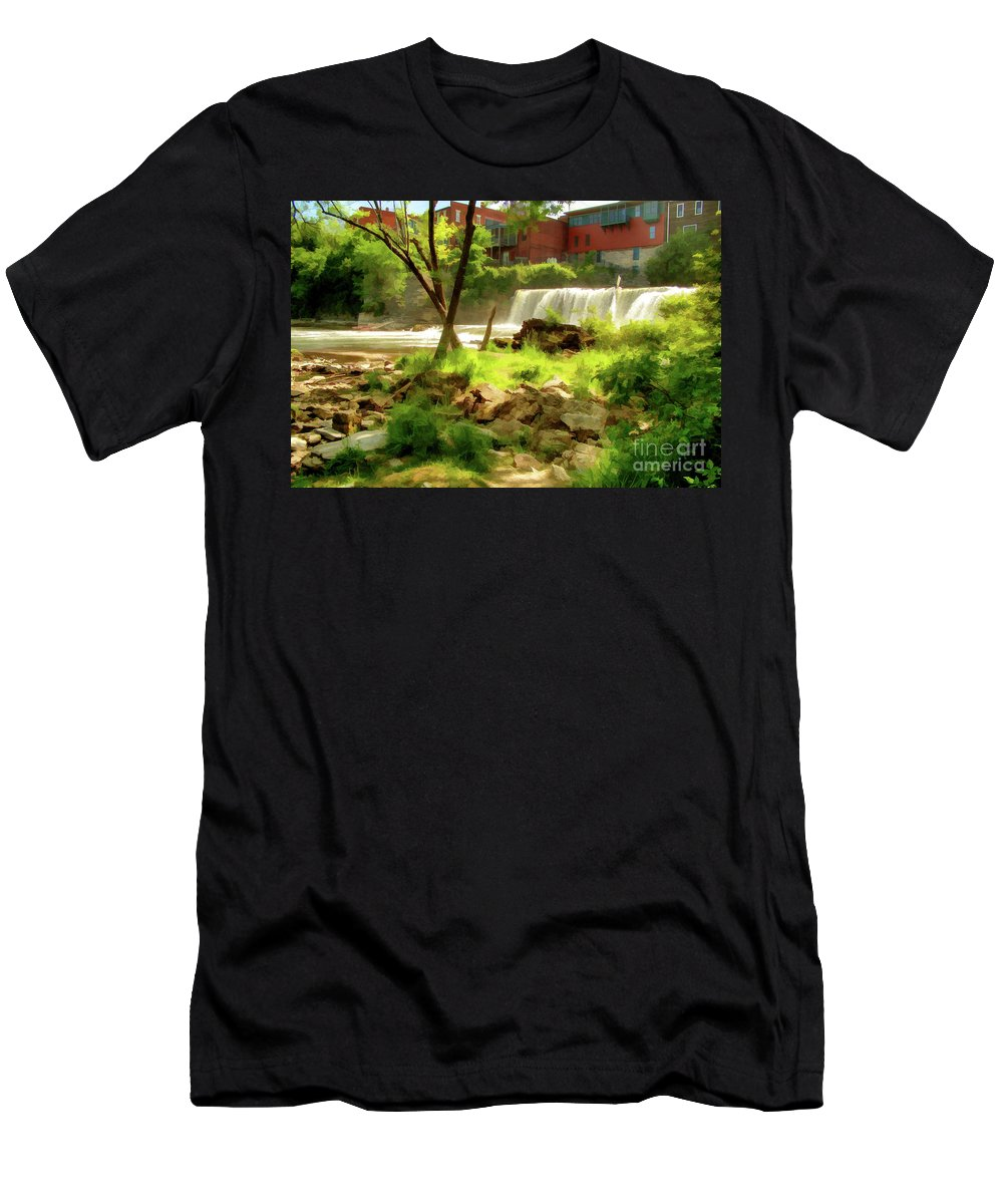 Waterfall Men's T-Shirt (Athletic Fit) featuring the photograph Middlebury by Betsy Zimmerli