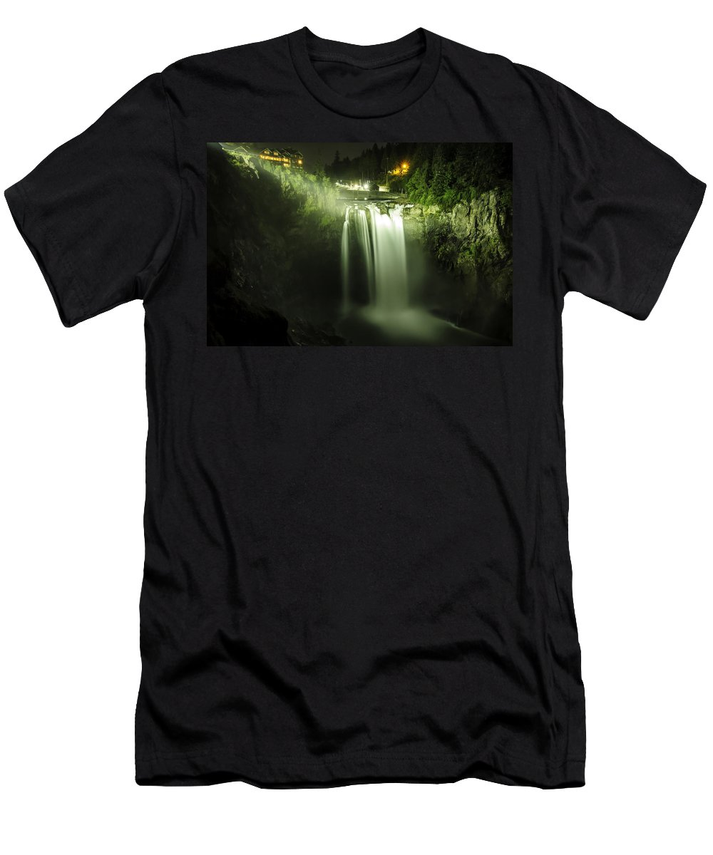 Snoqualmie Falls T-Shirt featuring the photograph Midnight Curtain by Ryan McGinnis