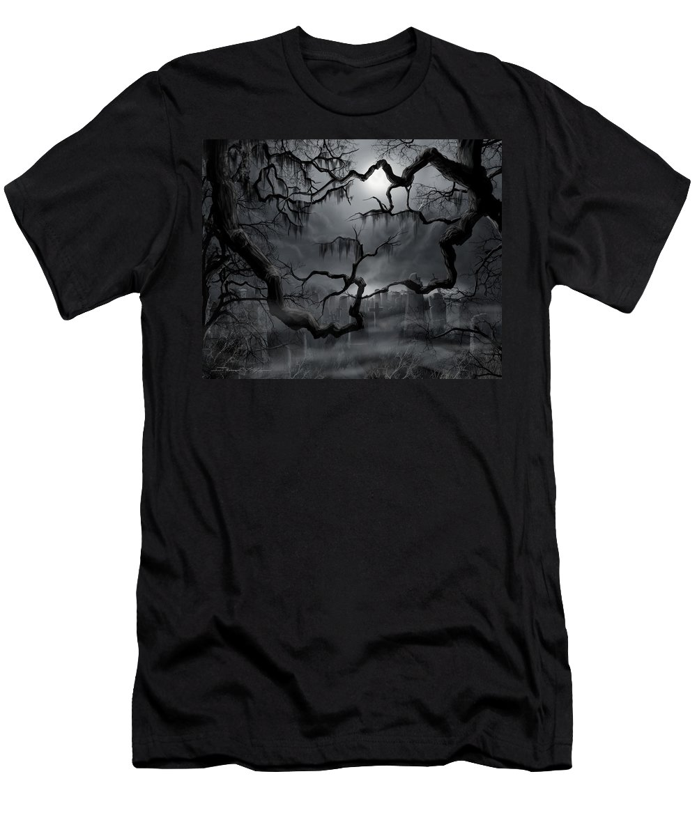 Ghosts T-Shirt featuring the painting Midnight in the Graveyard II by James Christopher Hill