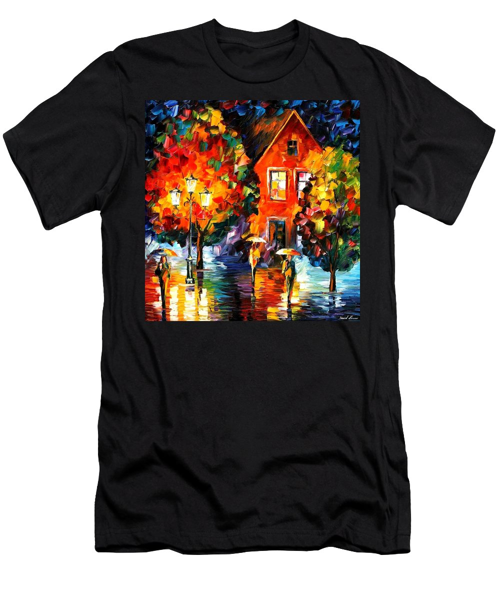 Afremov Men's T-Shirt (Athletic Fit) featuring the painting Midnight Rain by Leonid Afremov