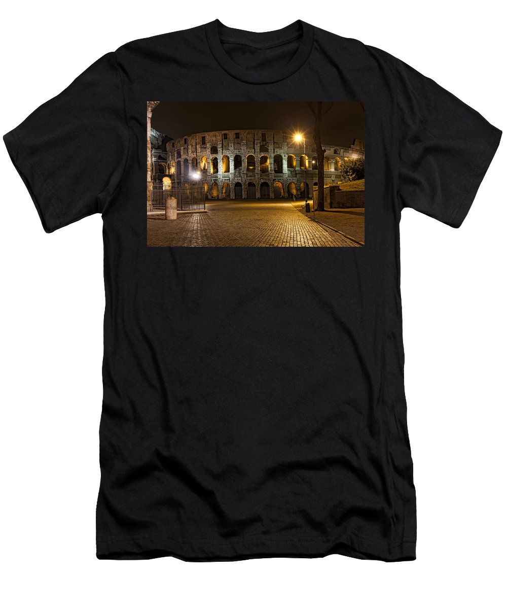 Italy Men's T-Shirt (Athletic Fit) featuring the photograph Midnight Walk by Janet Fikar