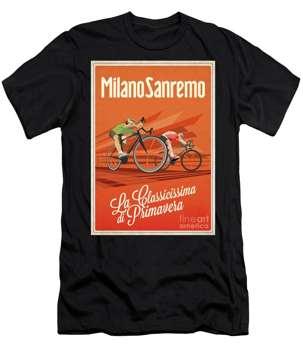 Cycling Men's T-Shirt (Athletic Fit) featuring the digital art Milan San Remo by Sassan Filsoof