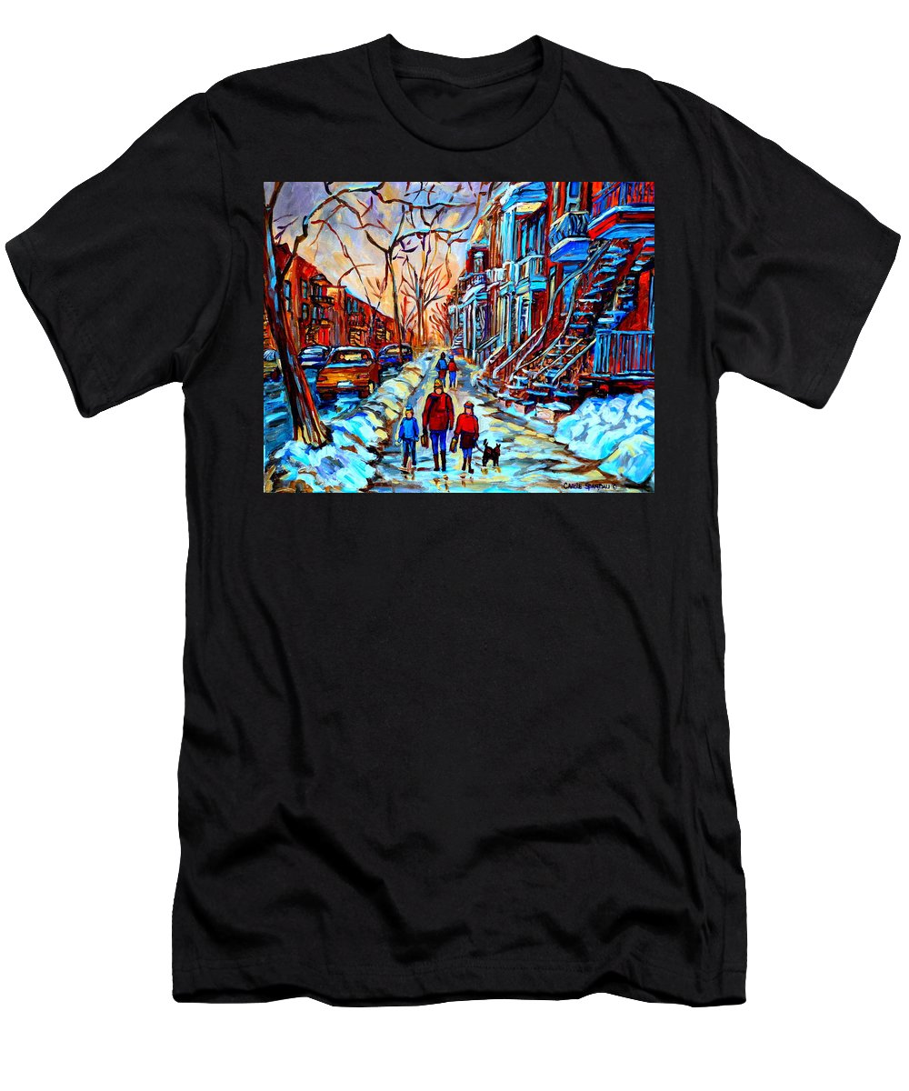 Montreal Men's T-Shirt (Athletic Fit) featuring the painting Mile End Montreal Neighborhoods by Carole Spandau
