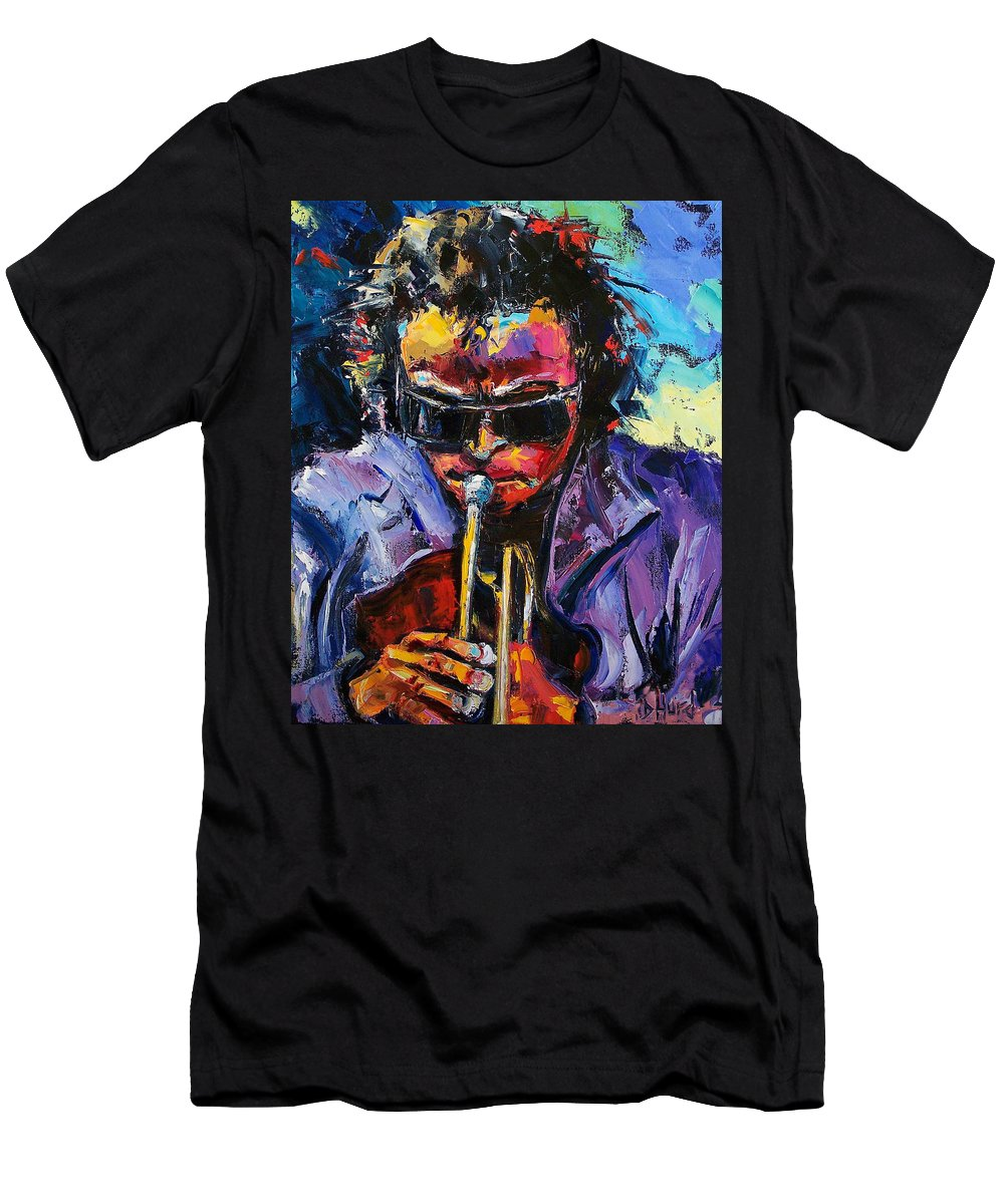 Miles Davis Men's T-Shirt (Athletic Fit) featuring the painting Miles Davis by Debra Hurd