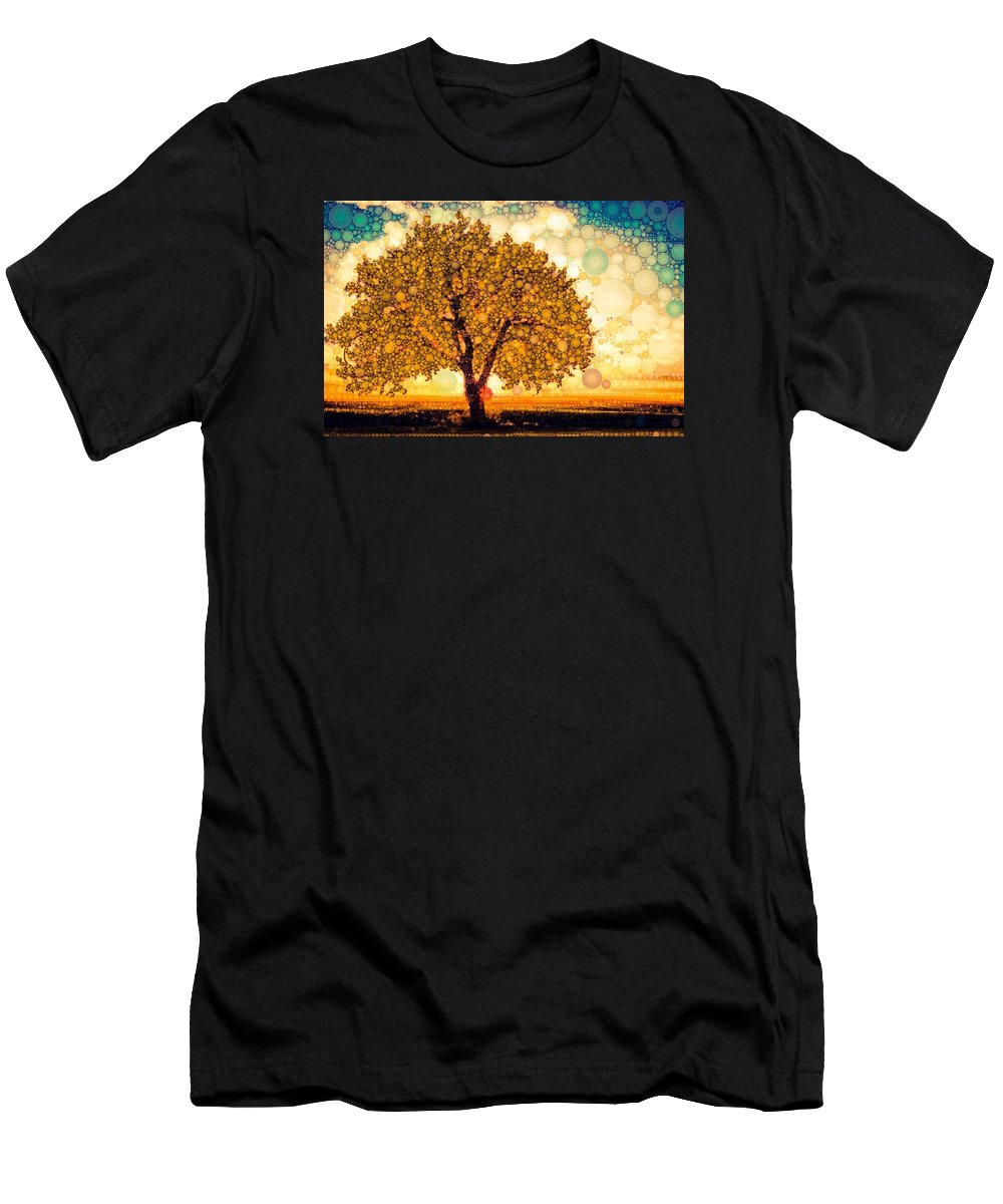 Solo Tree At Sunset Men's T-Shirt (Athletic Fit) featuring the digital art Milk And Honey by Steven Boland
