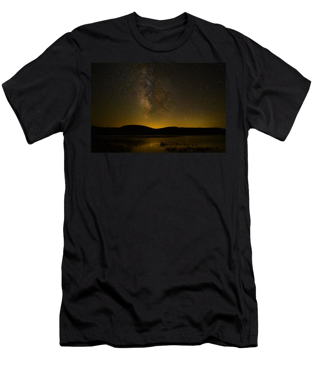 Milky Way Men's T-Shirt (Athletic Fit) featuring the photograph Milky Way Refection by Carol Dyer