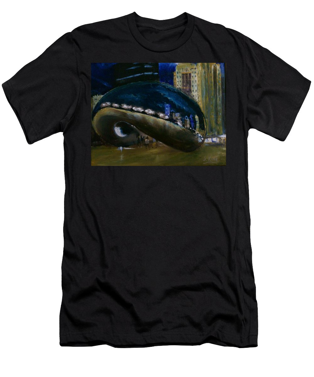 Cityscape Men's T-Shirt (Athletic Fit) featuring the painting Millennium Park - Chicago by Stephen King