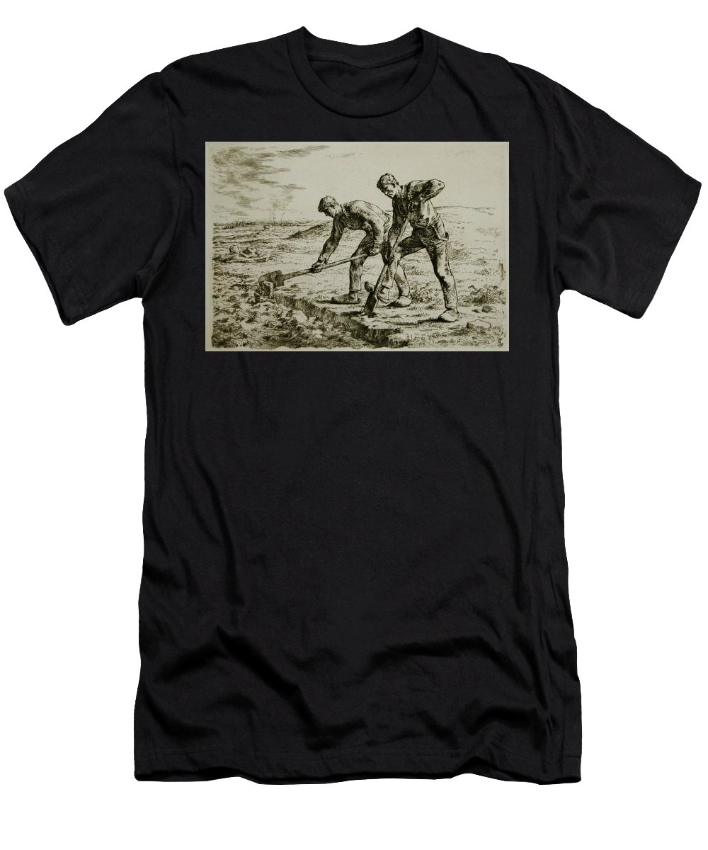 Les Bêcheurs Men's T-Shirt (Athletic Fit) featuring the painting Millet by MotionAge Designs