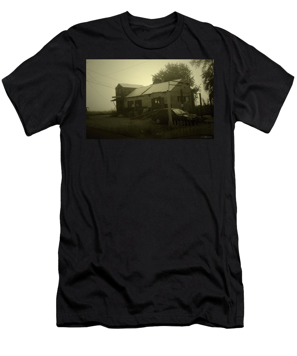 Milltown Men's T-Shirt (Athletic Fit) featuring the photograph Milltown Merchantile by Tim Nyberg