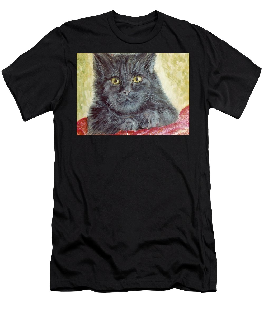 Cat Men's T-Shirt (Athletic Fit) featuring the painting Black Cat by Remy Francis