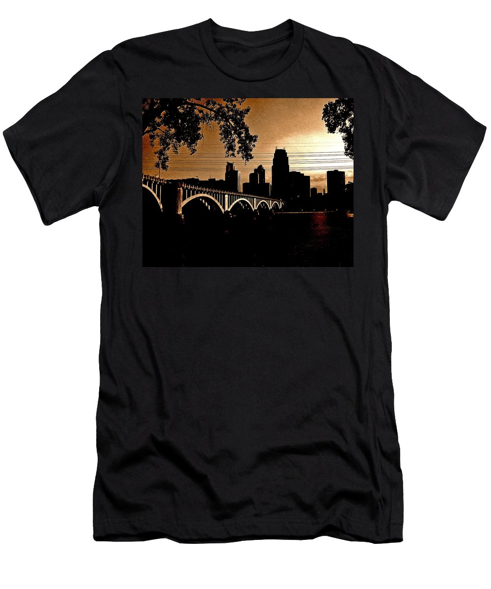 Minneapolis Men's T-Shirt (Athletic Fit) featuring the photograph Minneapolis Skyline In Copper by Tom Reynen