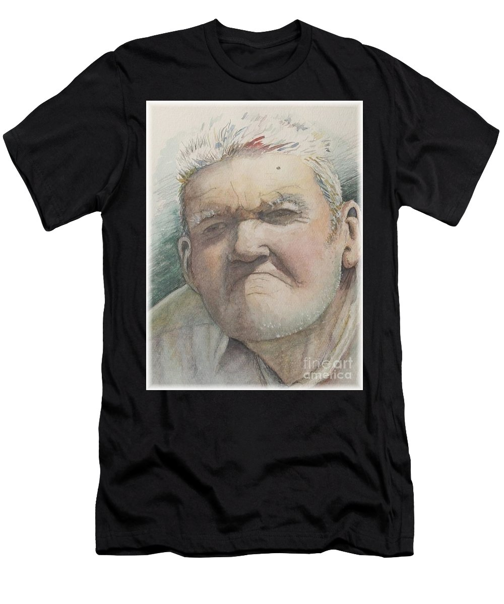 Portrait Men's T-Shirt (Athletic Fit) featuring the painting Minnesota Farmer by Nadine Rippelmeyer