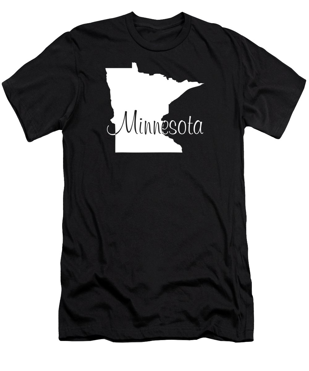 Minnesota Men's T-Shirt (Athletic Fit) featuring the digital art Minnesota In White by Custom Home Fashions