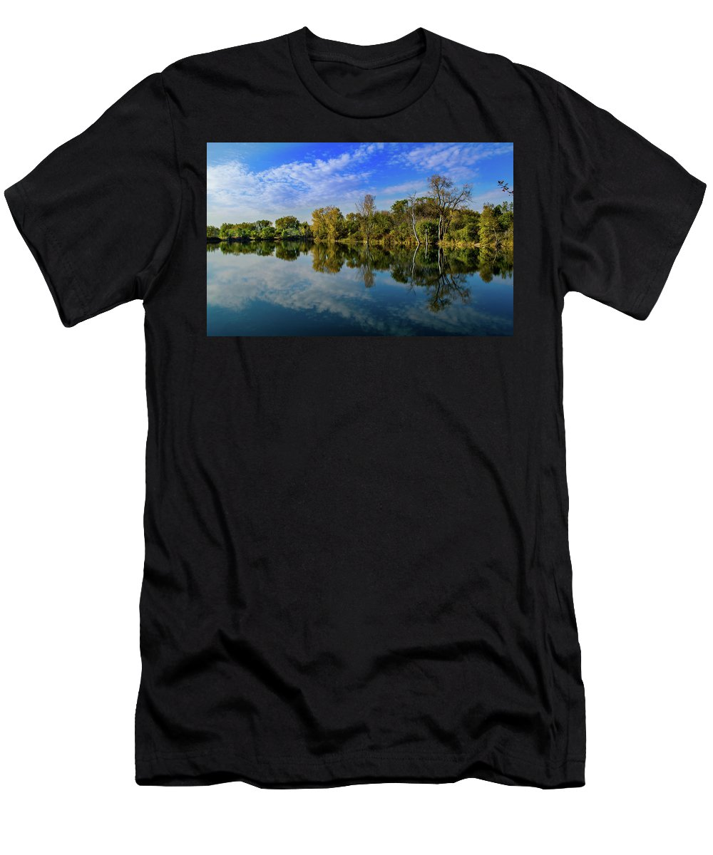 Pond Lake Glass Mirror Tree Clous Blue Sky Men's T-Shirt (Athletic Fit) featuring the photograph Mirror Image by Bob White