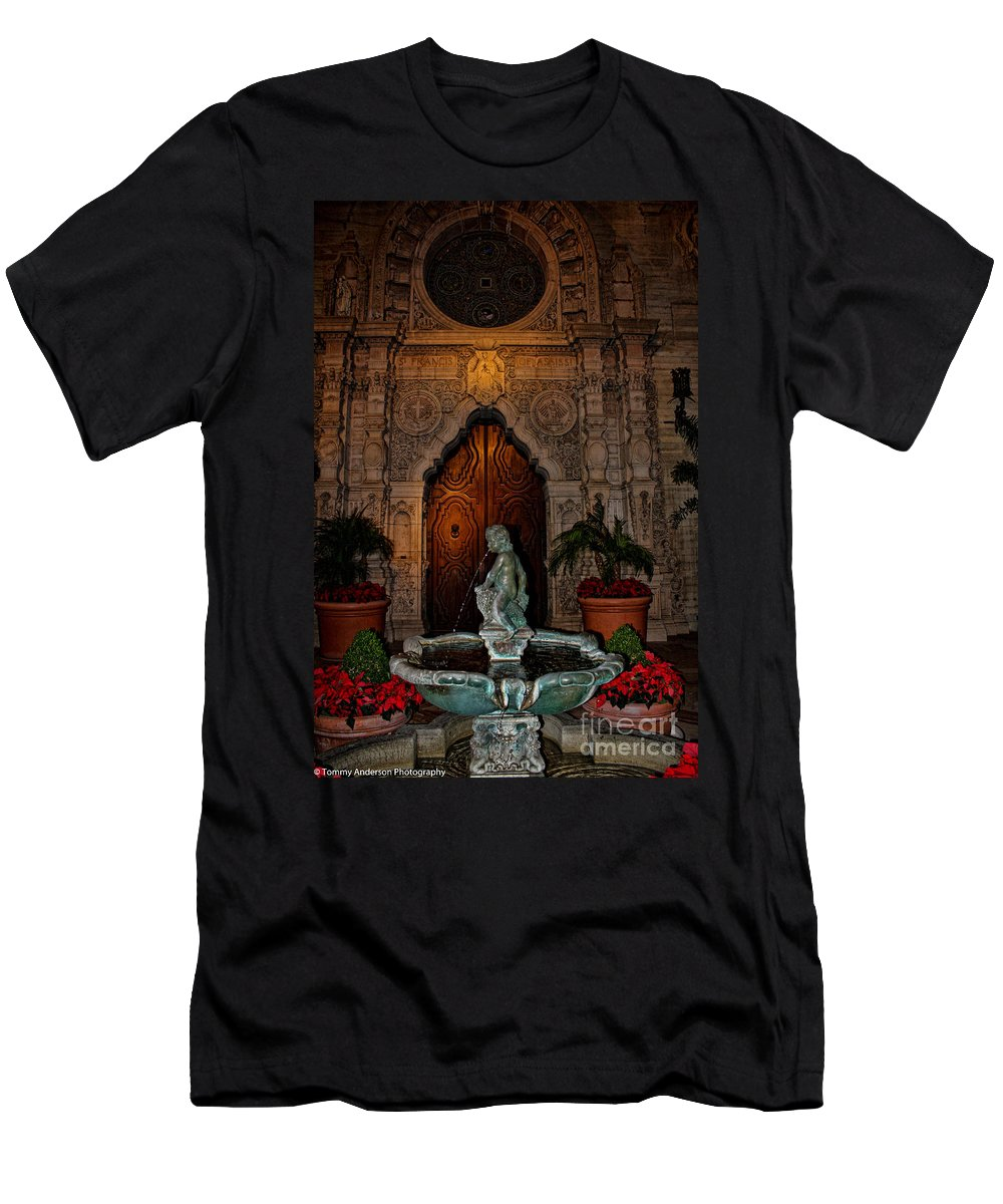 Mission Inn Men's T-Shirt (Athletic Fit) featuring the photograph Mission Inn Chapel Fountain by Tommy Anderson