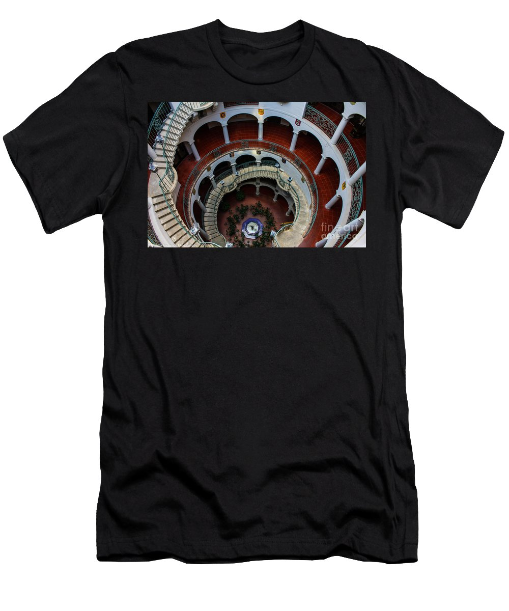 Mission Inn Men's T-Shirt (Athletic Fit) featuring the photograph Mission Inn Circular Stairway by Tommy Anderson