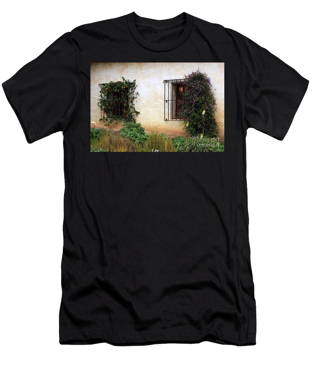 Vines Men's T-Shirt (Athletic Fit) featuring the photograph Mission Windows by Carol Groenen