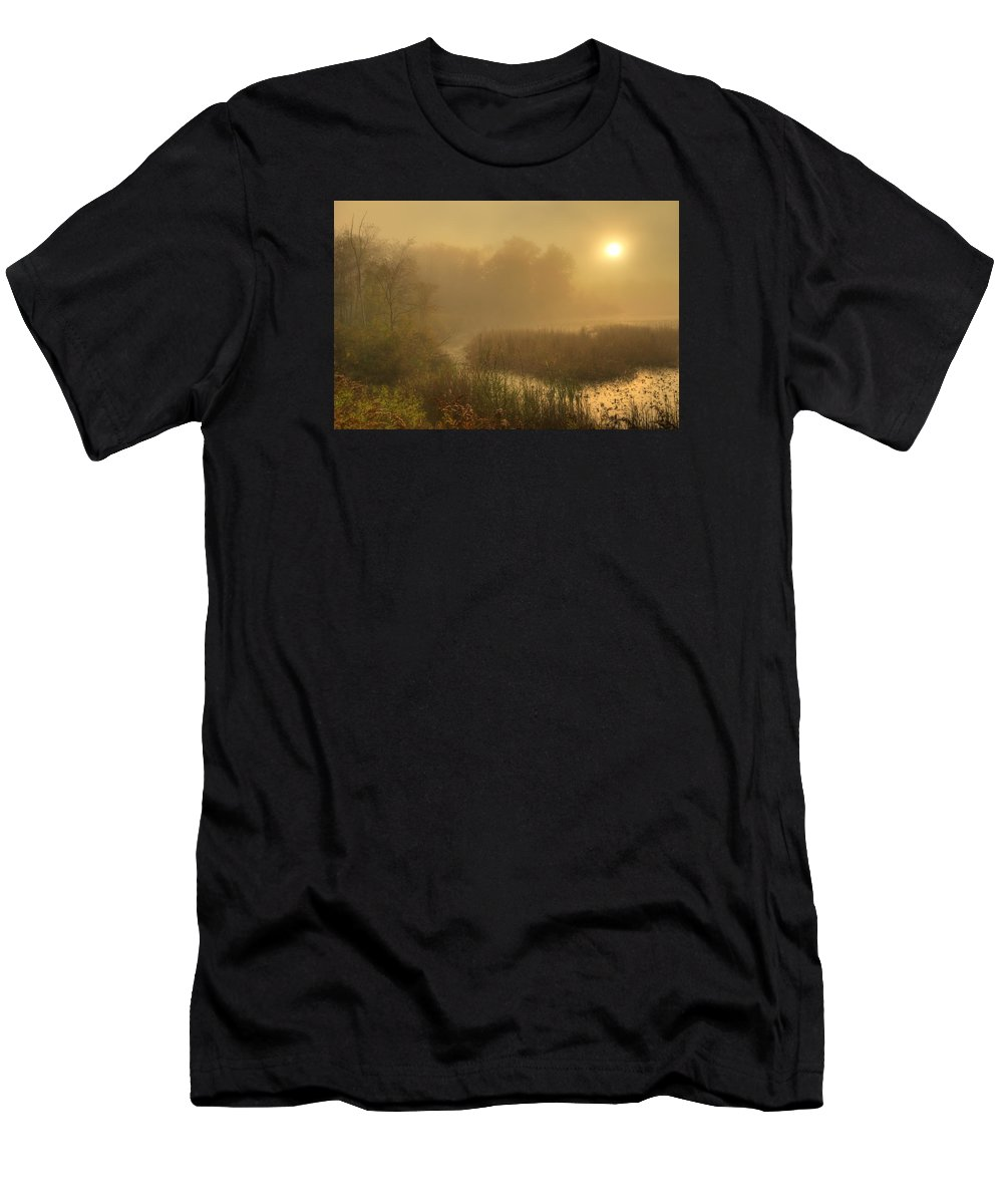 Fog Men's T-Shirt (Athletic Fit) featuring the photograph Mist Sunrise by Peter Jiang