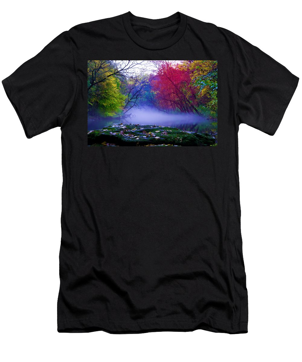 Mist Men's T-Shirt (Athletic Fit) featuring the photograph Misty Creek by Bill Cannon