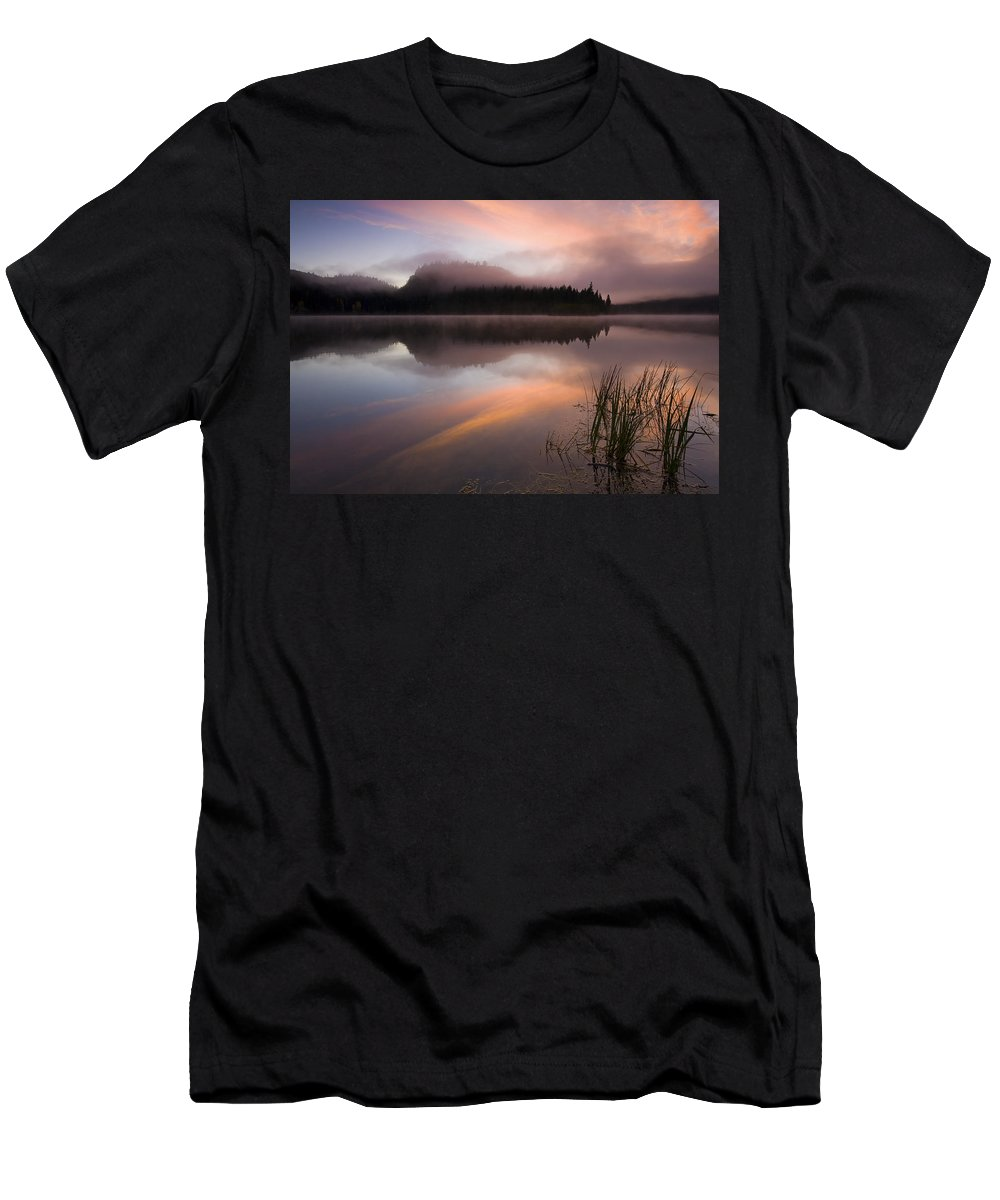 Sunrise Men's T-Shirt (Athletic Fit) featuring the photograph Misty Dawn by Mike Dawson