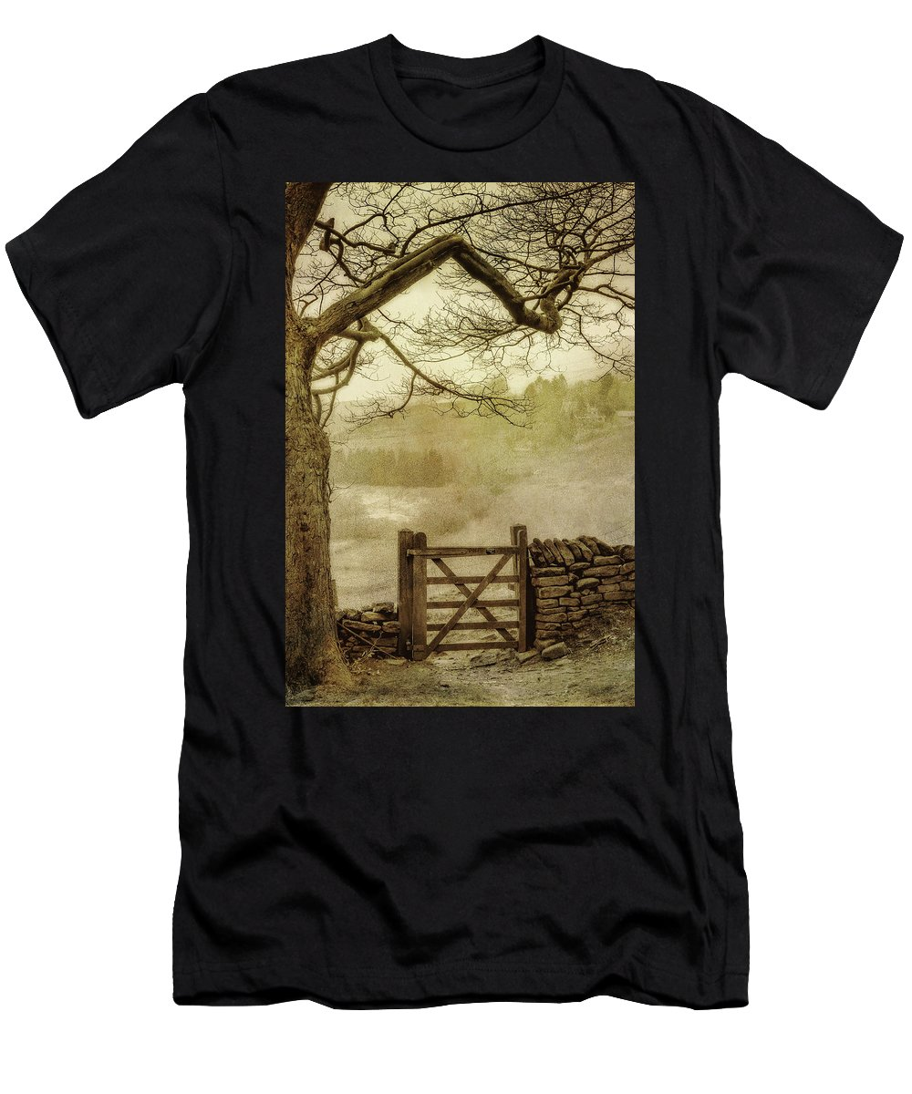 England Men's T-Shirt (Athletic Fit) featuring the photograph Misty Delight by Peter Hayward Photographer