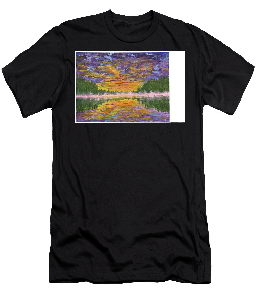 Sunset Men's T-Shirt (Athletic Fit) featuring the painting Misty Dusk by Stephen Riffe