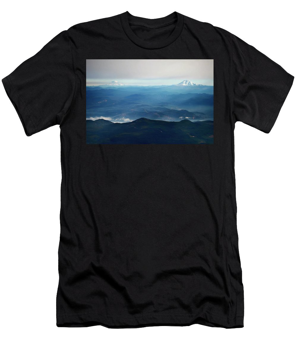 Mountains Men's T-Shirt (Athletic Fit) featuring the photograph Misty Expanse by Elliot Stombaugh