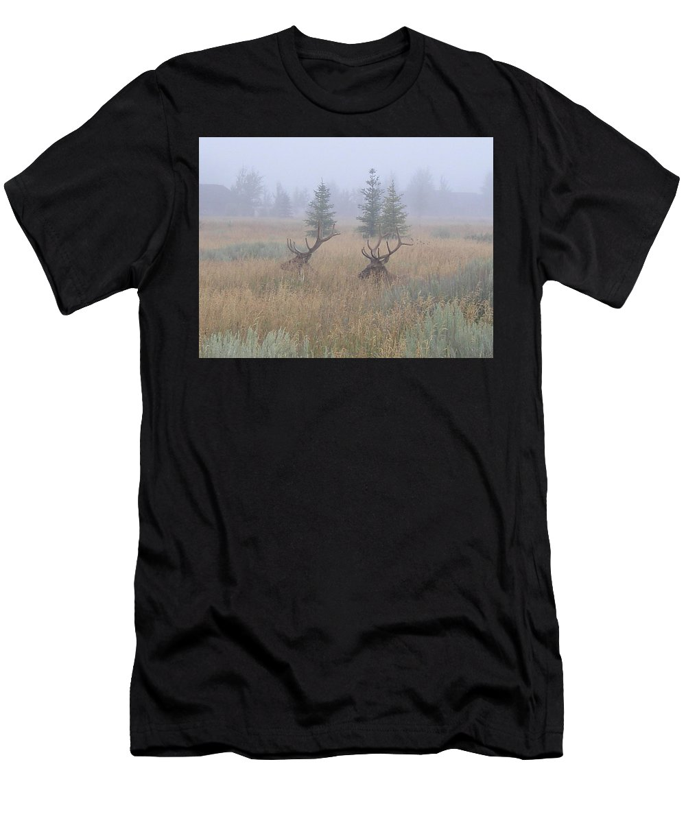 Wildlife Men's T-Shirt (Athletic Fit) featuring the photograph Misty Morning by Darren Rudd