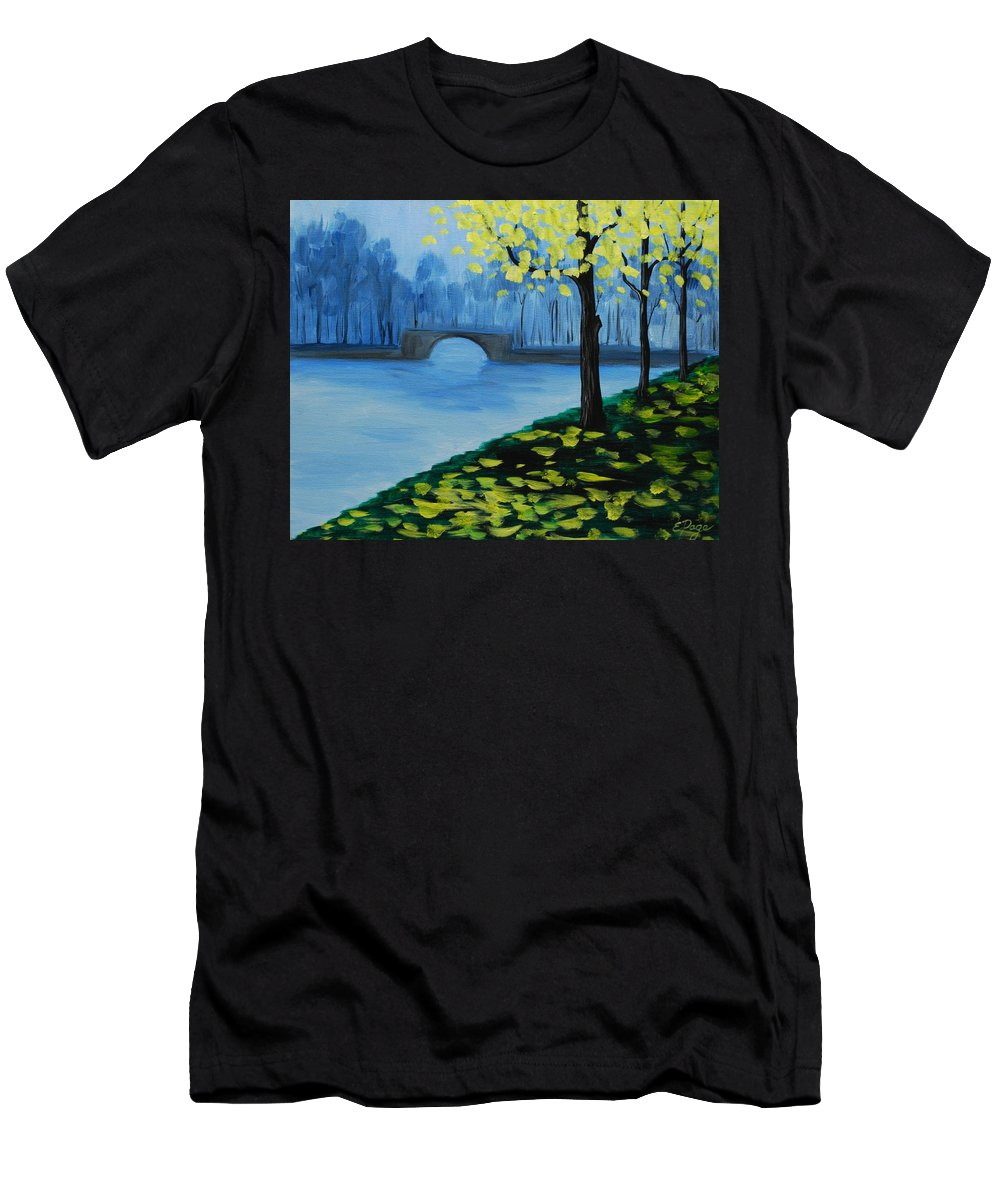 Mist Men's T-Shirt (Athletic Fit) featuring the painting Misty Morning by Emily Page