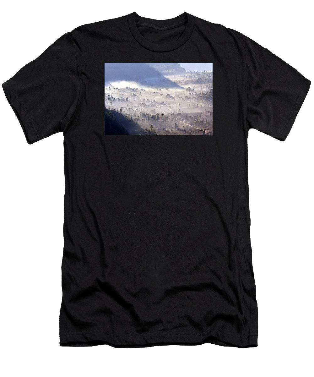 Landscape Fog Morning Men's T-Shirt (Athletic Fit) featuring the photograph Misty Morning by Gusti putu Suarsana