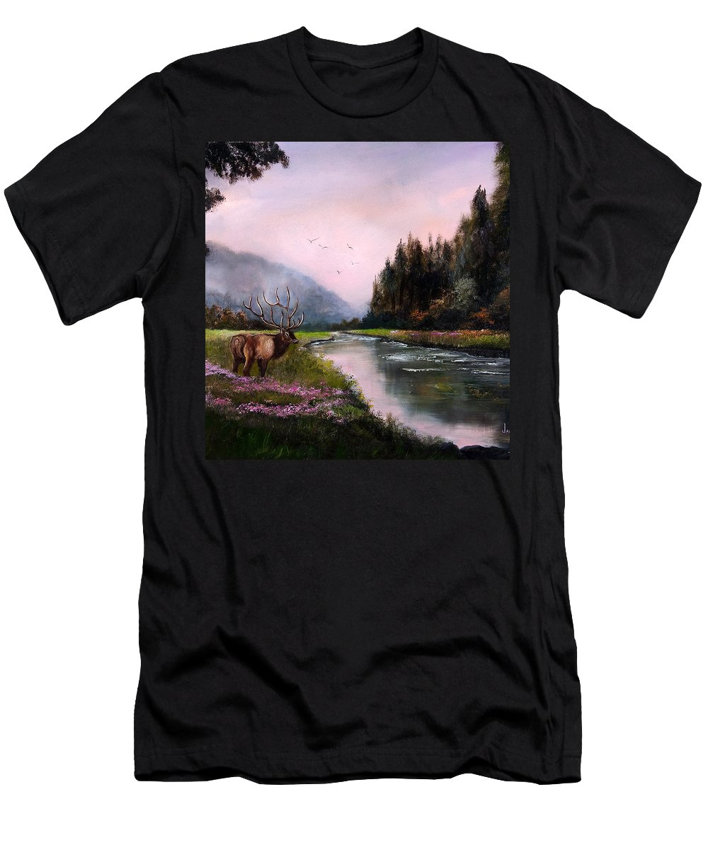 Jan Holman Art Paintings 2010 Elk Men's T-Shirt (Athletic Fit) featuring the painting Misty Morning by Jan Holman