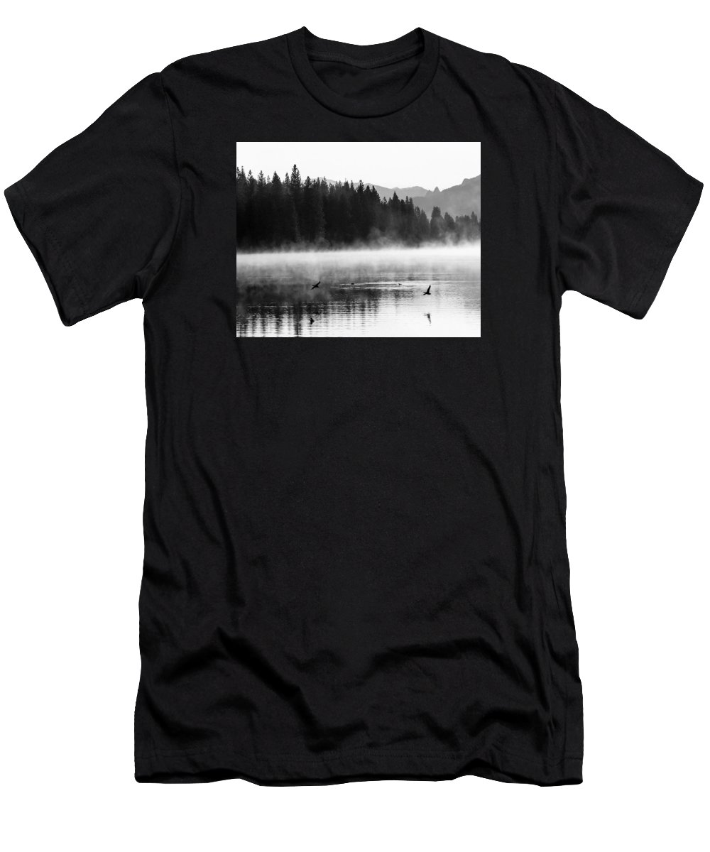 Hume Lake Men's T-Shirt (Athletic Fit) featuring the photograph Misty Morning by Joan Baker