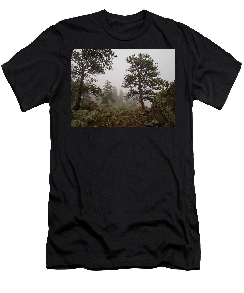 Landscape Men's T-Shirt (Athletic Fit) featuring the photograph Misty Mountain Path by Rob Lantz
