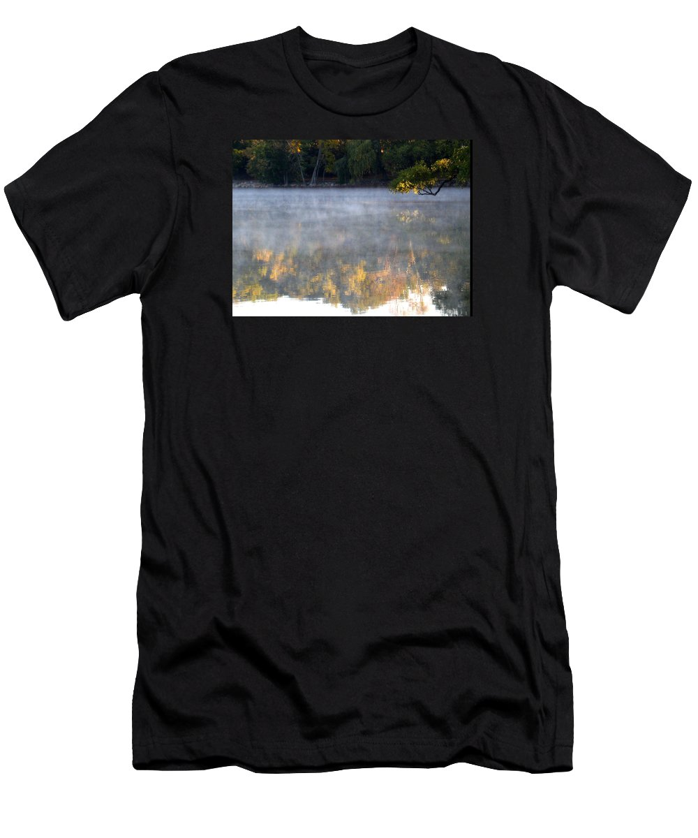 Water Men's T-Shirt (Athletic Fit) featuring the photograph Dark Shoreline Frames Misty Fall Reflections On Jamaica Pond by Giora Hadar