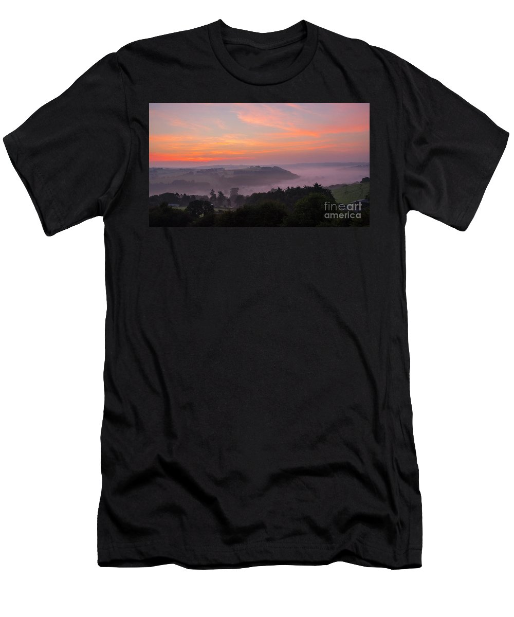 Sunrise Men's T-Shirt (Athletic Fit) featuring the photograph Misty Sunrise by Chris Thaxter