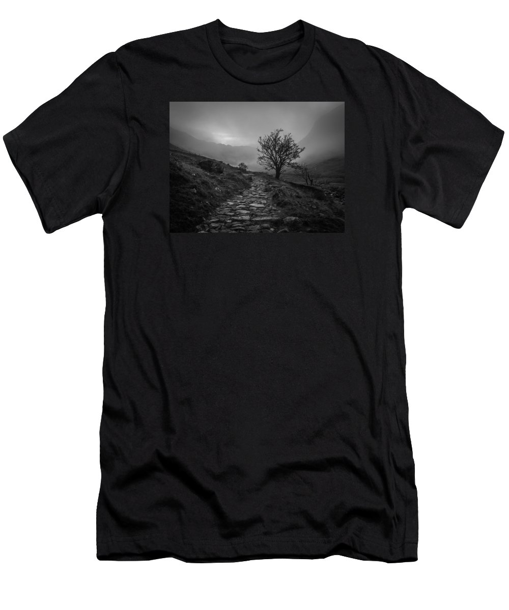 Black And White Men's T-Shirt (Athletic Fit) featuring the photograph Misty Valley by David Attenborough
