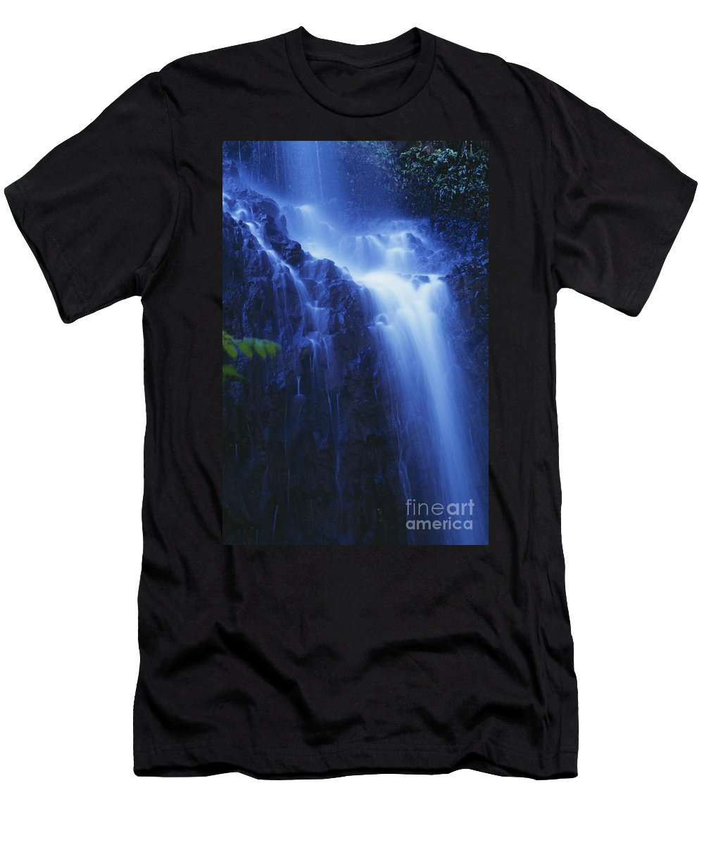 Beautiful Men's T-Shirt (Athletic Fit) featuring the photograph Misty Waterfall by Bill Brennan - Printscapes