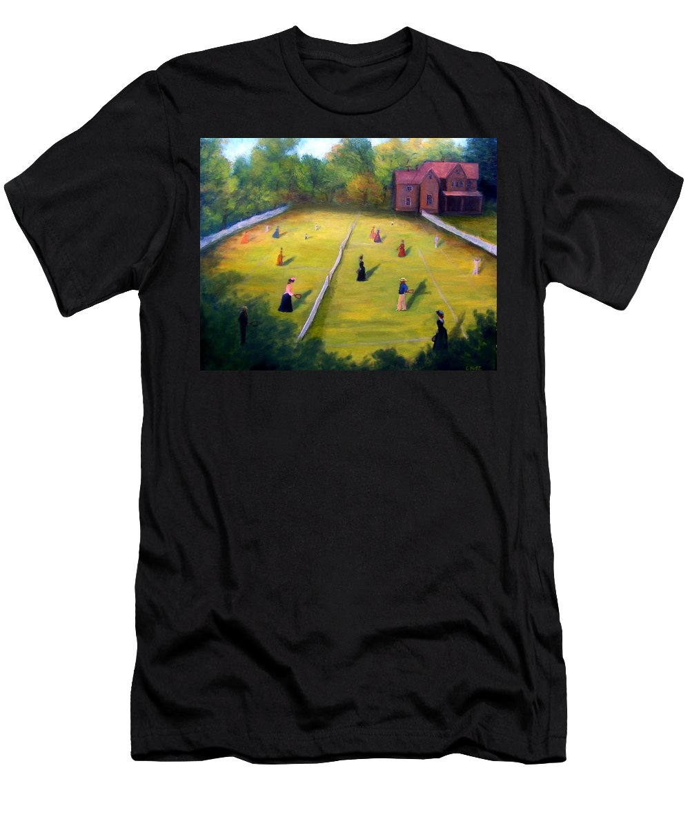 Tennis Art Men's T-Shirt (Athletic Fit) featuring the painting Mixed Doubles by Gail Kirtz