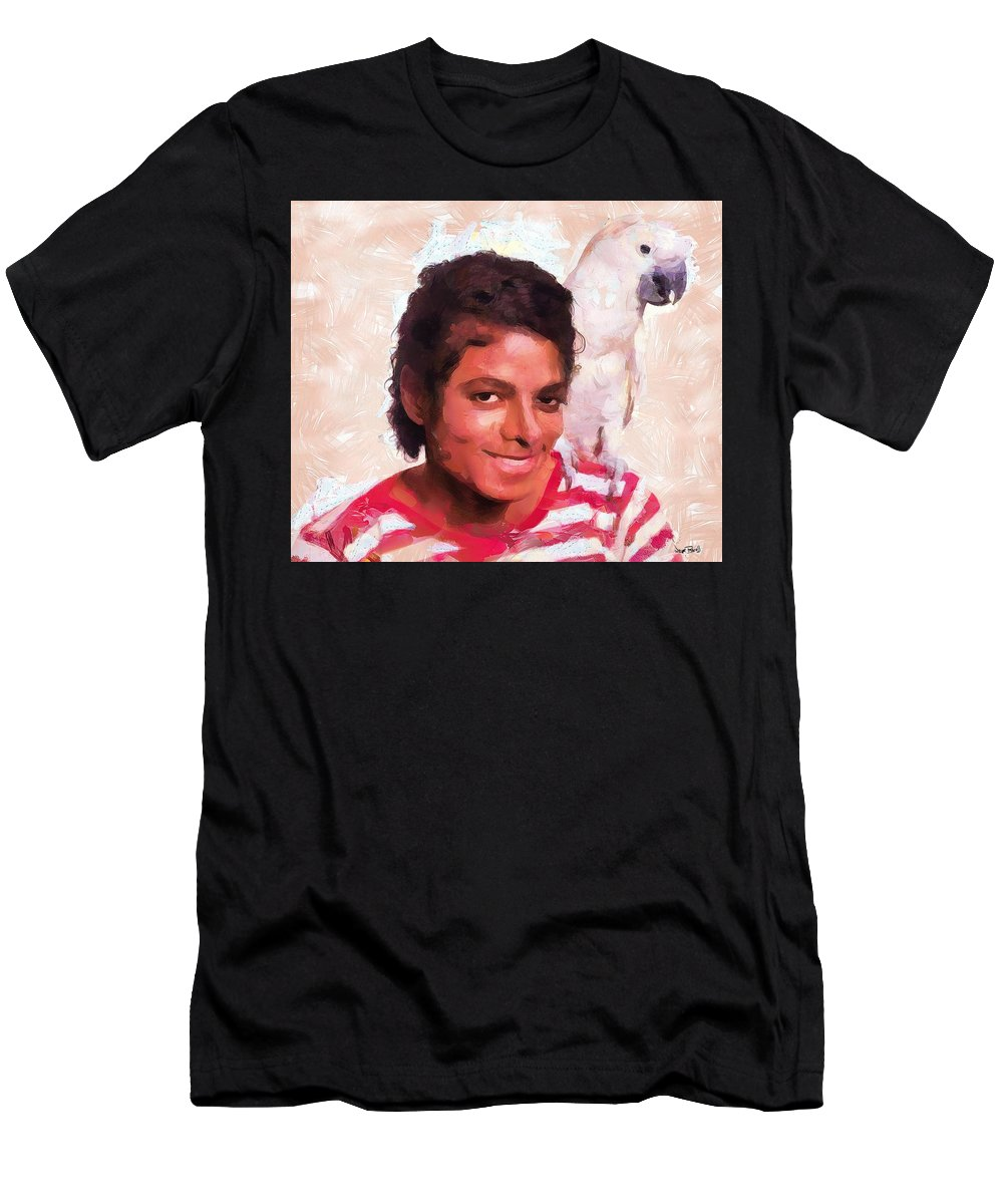 Micahel Jackson Men's T-Shirt (Athletic Fit) featuring the painting Mj And Polly by Wayne Pascall