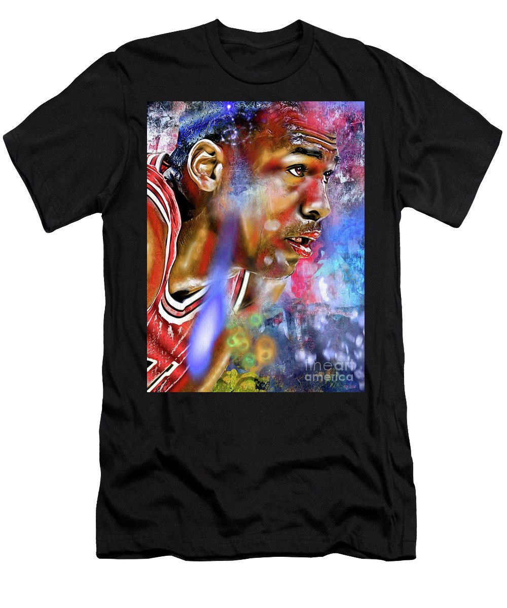 Mj Painted Men's T-Shirt (Athletic Fit) featuring the painting Mj Painted by Daniel Janda