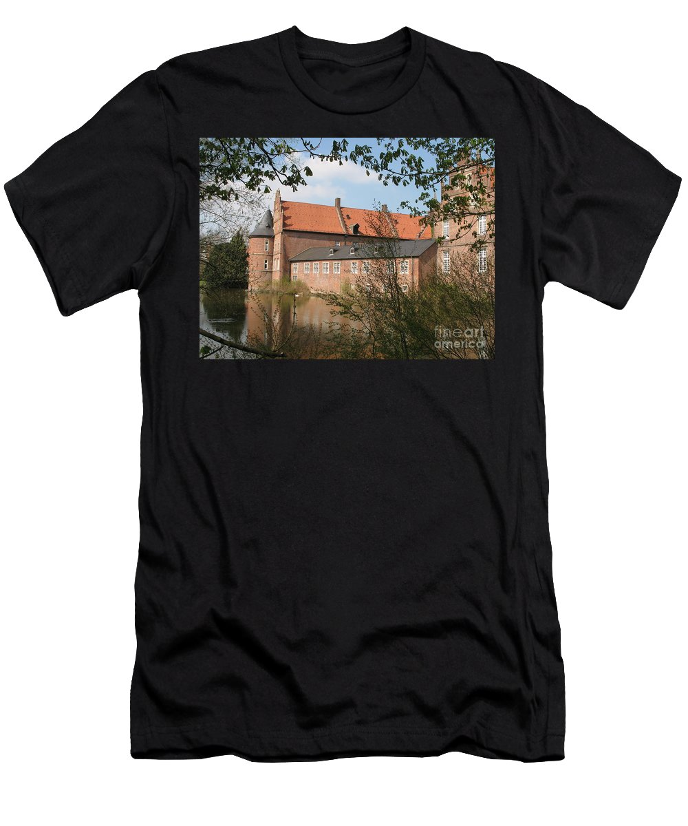 Moated Castle Men's T-Shirt (Athletic Fit) featuring the photograph Moated Castle Herten II by Christiane Schulze Art And Photography
