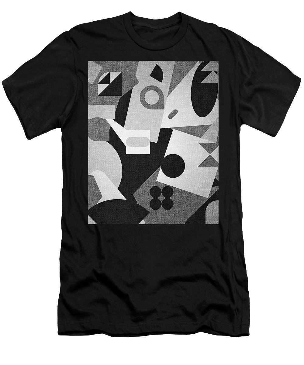 Abstract Men's T-Shirt (Athletic Fit) featuring the digital art Mod, Grayscale by Sandy Taylor
