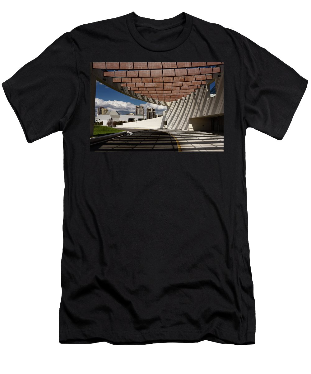 Ismaili Men's T-Shirt (Athletic Fit) featuring the photograph Modern Architecture Of Ismaili Centre Entrance With Aga Khan Mus by Reimar Gaertner