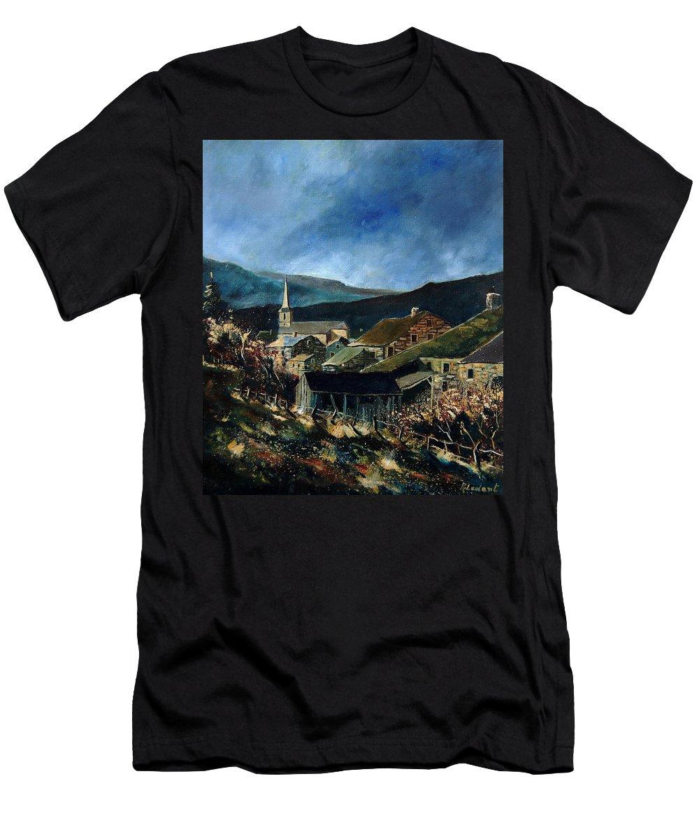 Village Men's T-Shirt (Athletic Fit) featuring the painting Mogimont Village Ardennes by Pol Ledent