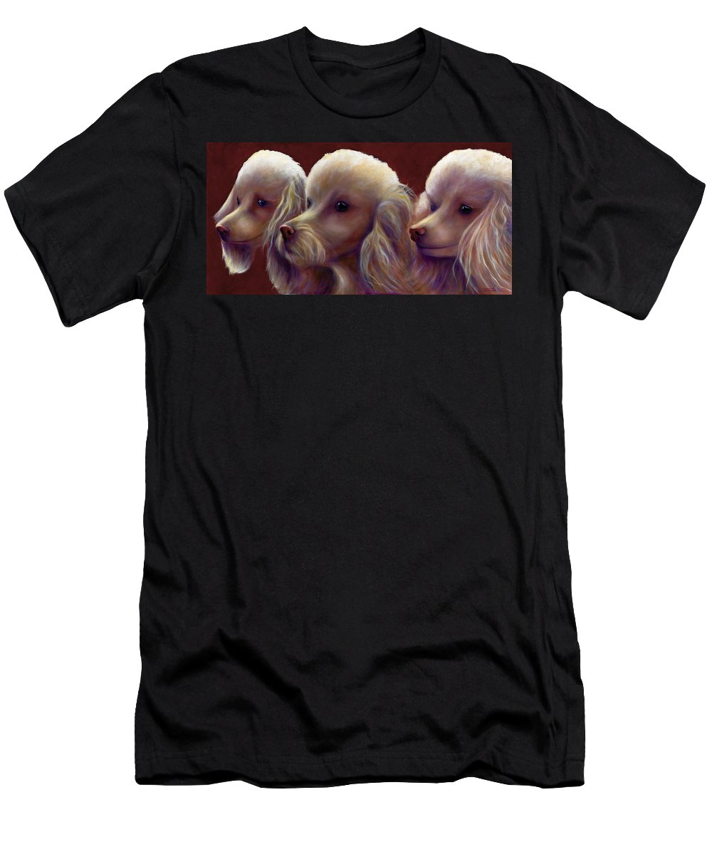 Dogs Men's T-Shirt (Athletic Fit) featuring the painting Molly Charlie And Abby by Shannon Grissom